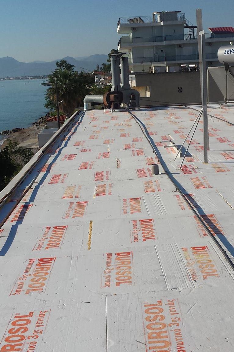 μονωση ταρατσας σε παραθαλασσια περιοχη με το συστημα Durosol Light Roof