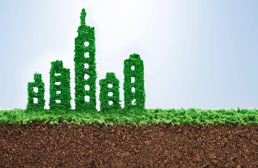 σκίτσο απο πράσινα κτιρια που δείχνει την ενεργειακή αναβάθμιση και ενεργειακή εξοικονόμηση