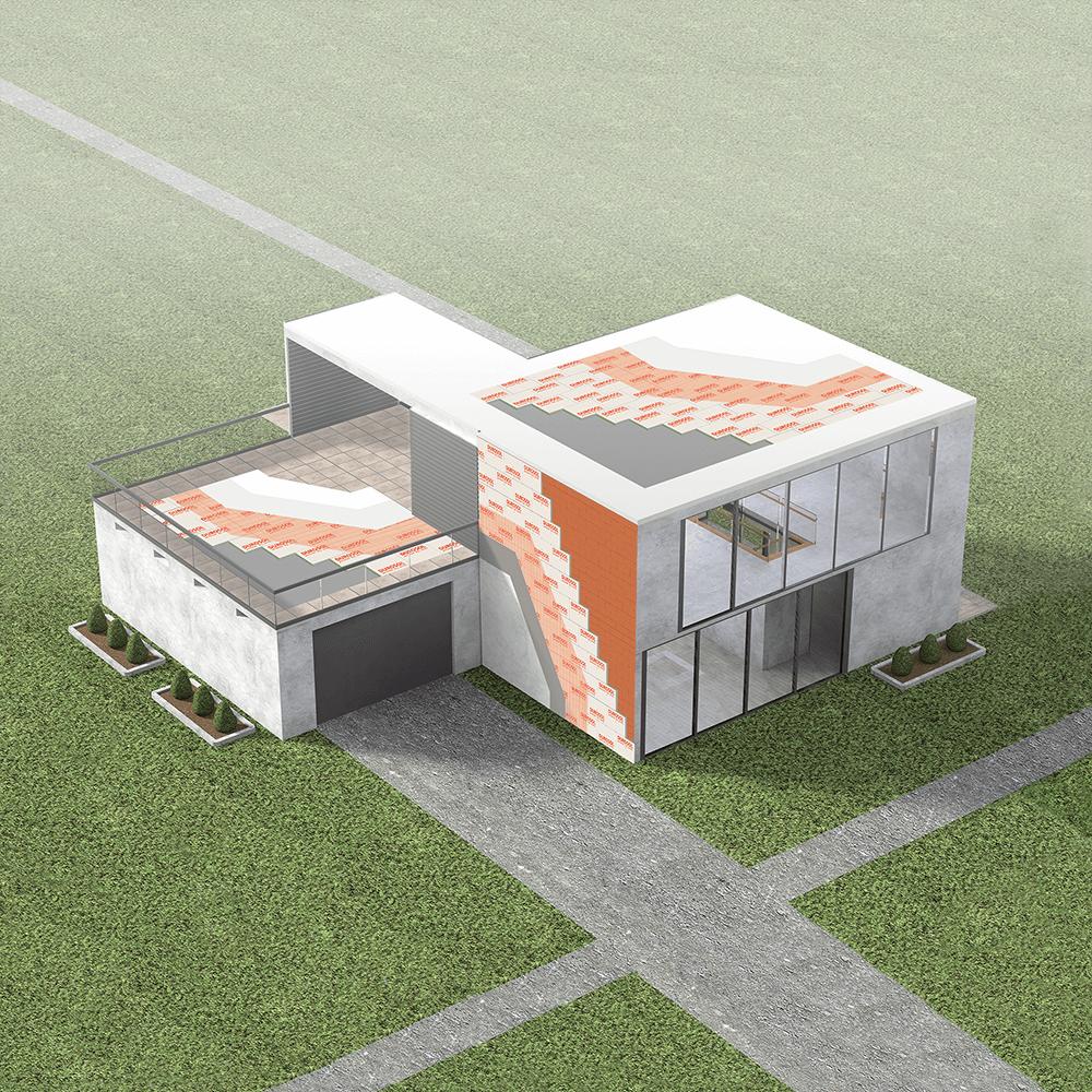 Σπίτι στο οποίο φαίνονται συστήματα θερμομόνωσης. Στον τοίχο φαίνεται το σύστημα για Εξωτερική θερμομόνωση τοίχων Durosol External. Στο μπαλκόνι φαίνεται το Σύστημα για μόνωση ταράτσας Durosol Light Roof Plus και στην ταράτσα το ελαφρύ σύστημα για μονώσεις ταρατσών Durosol Light Roof.